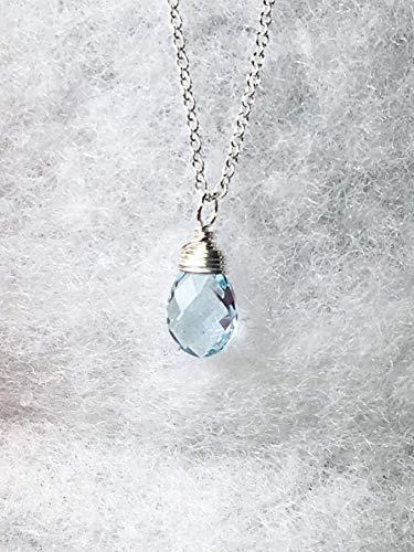 Dainty Blue Topaz Necklace, Sterling Silver, Sky Blue Gemstone Pendant, Length 18