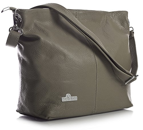 LiaTalia Bag Bag Genuine Hobo with Protective Shoulder Womens Dark Italian Storage Leather Taupe Adal Medium PRrcPAwq