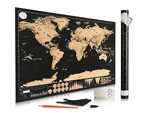 """Scratch Off World Map Travel Map - World Map Scratch Off for Travelers - Elegant Gold Foil on Black Scratch Off Map of The World - Destinations Map - Modernized Deluxe Gift Edition 32""""x 23"""" with Tube"""