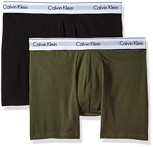 Calvin Klein Men's Underwear 2 Pack Modern Cotton Stretch Boxer Briefs, Black/Hunter, X-Large