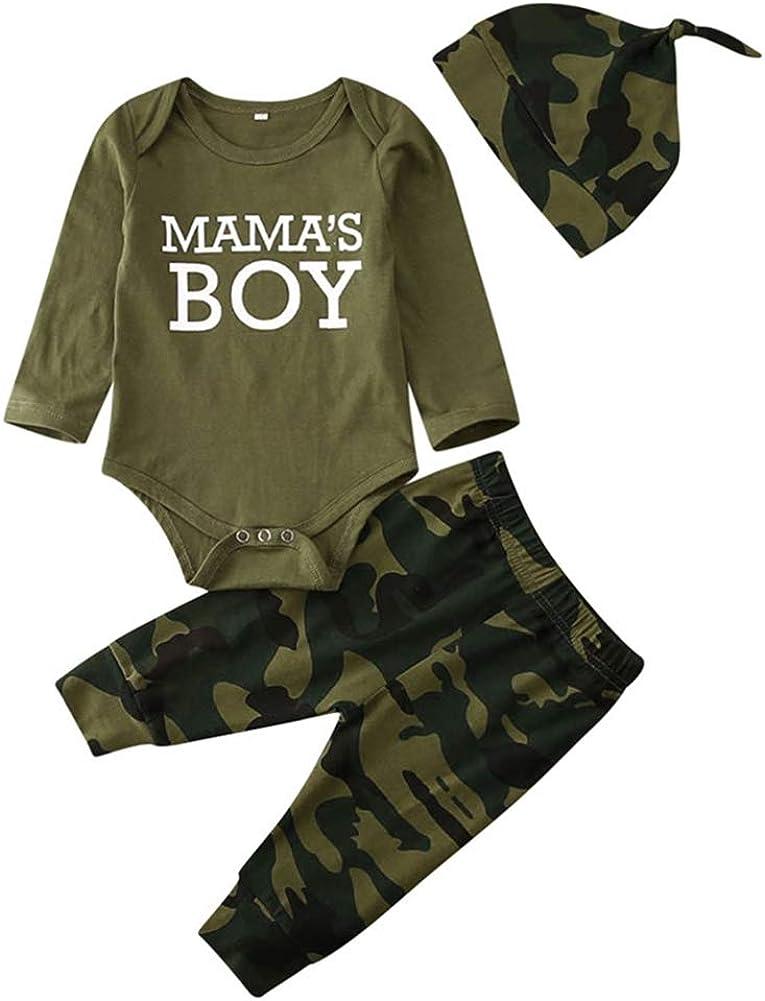 Conjunto de ropa de verano para beb/é dise/ño de camuflaje Geagodelia color verde militar 2 piezas