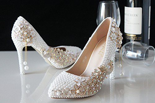 Heel Metal Heels Shoes Shoes VIVIOO 7 Tassel Wedding Crystal Prom Pearls Bride Wedding 3Cm Sandals Handmade Pointed Shoes Diamond New Crystal Bird White wnf1pFxq
