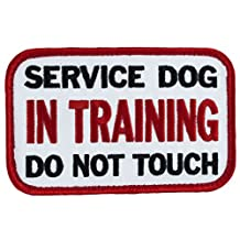 "SERVICE DOG IN TRAINING DO NOT TOUCH Sew-on Embroidered Patch - 4"" X 2.5"""