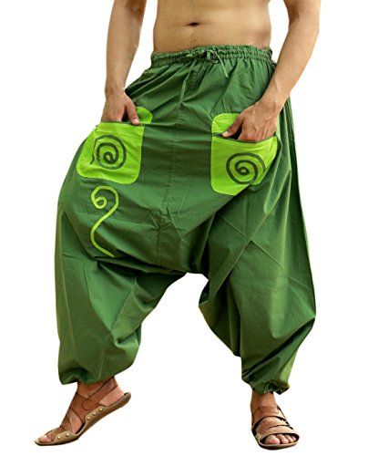 Sarjana Handicrafts Men's Cotton Pockets Harem Yoga Baggy Genie Hippie Pants