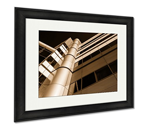 Ashley Framed Prints Modern Architecture In The Inner Harbor Of Baltimore Maryland, Modern Room Accent Piece, Sepia, 34x40 (frame size), Black Frame, - Shops Baltimore Inner Harbor