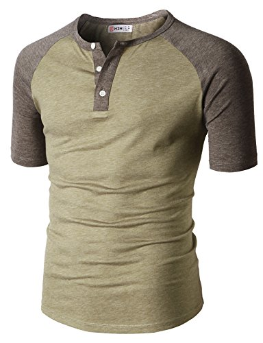 H2H Men Slim Fit Henley Raglan Short Sleeve Contrast Color Block Casual Baseball T-Shirt HEATHERBEIGE US M/Asia L (CMTTS0222) by H2H