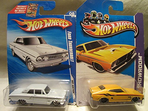 Hot Wheels Ford Thunderbolt Hot Action '10 & HW Showroom '73 Ford Falcon XB Die Cast 2 Car Set! (Ford Falcon Set)