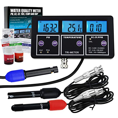 (Gain Express 6 in 1 Professional Multi-Parameter pH/ORP/EC/CF/TDS PPM/Temperature Combo Testing Meter, Digital Multi-Function Water Quality Monitor Tester)