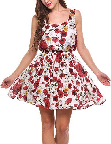 Zeagoo Damen 50s retro Sommerkleid rockabilly blumen Kleid Partykleid  Cocktailkleid Minikleid festlich Weiß 2HBIGq 578689ed19