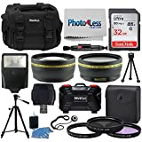 Professional 55mm Lens Filters + SLR/DSLR Accessory Kit - Photo4Less Case + 32GB Memory Card + 55mm Telephoto & Wide Angle Lens + Slave Flash + Quality Tripod + USB Card Reader + 3 Piece UV Filters