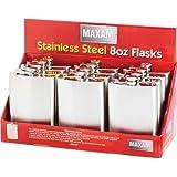 Maxam KTFLK8D 12 Piece Stainless Steel Flasks in Countertop Display, 8 oz