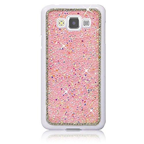 Xtra-Funky Serie Samsung Galaxy A7 diamantes de imitación Cristal Rocas del estuche rígido con espumoso Diamante ribete y Chrome Llanta - Plata Rosa