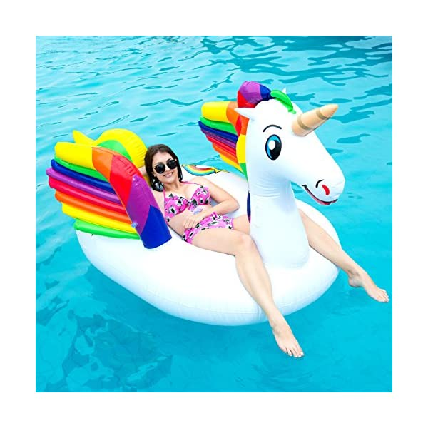 JOYIN Giant Inflatable Unicorn Pool Float with Wings, Alicorn/Pegasus Beach Floats, Swim Party Toys, Pool Island, Summer… 8