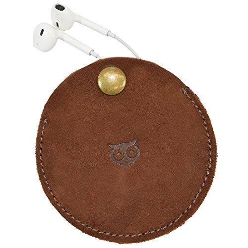 Portable Headphone Leather Case/Earbuds Pouch/Earphone and Cable Organizer Tech Storage Handmade by Hide & Drink :: Swayze Suede