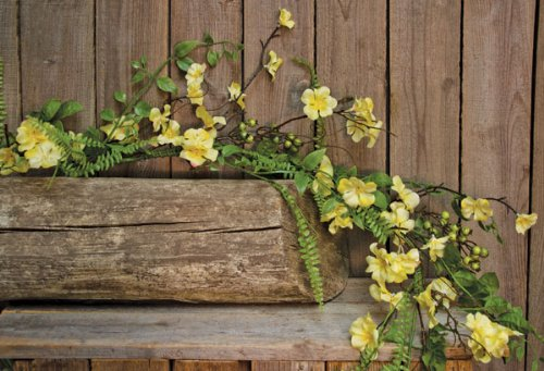 5ft Clover Blossom Twig Garland, 60-inch, Yellow Floral Flowers Easter Spring Summer Decor by Home Collection