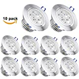Pack of 10,Pocketman 110V 5W LED Ceiling Light Downlight,Warm White Spotlight Lamp Recessed Lighting Fixture,with LED Driver