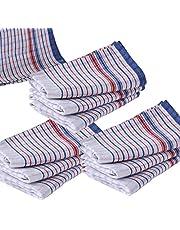 10 Pcs Set, Commercial Grade Vintage Tea Towels Heavy Duty, 100% Cotton, Momi Check Linen, 45cmx80cm, Bigger, Thicker, Better