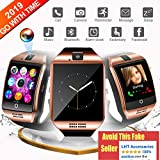 WATCHOO Bluetooth Smart Watch, Smartwatch Touch Screen Sport Wrist Watch Smartwatch Phone Fitness Tracker with Camera Pedometer SIM TF Card Slot for Samsung Android for Men Women Kids, Gold