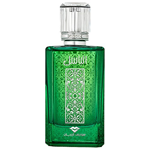 (Al Basel 100mL, an aromatic citrus Eau de Parfum for Men with sultry warm spices, Patchouli, Black Amber and Leather by perfume artisan Swiss Arabian)