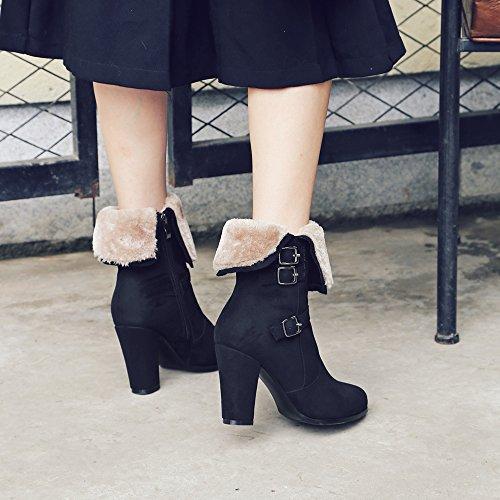 Meotina Winterlaarzen Bont Enkellaarzen Gesp Dikke Hoge Hak Vrouwelijke Laarzen Mode Schoenen Zwart