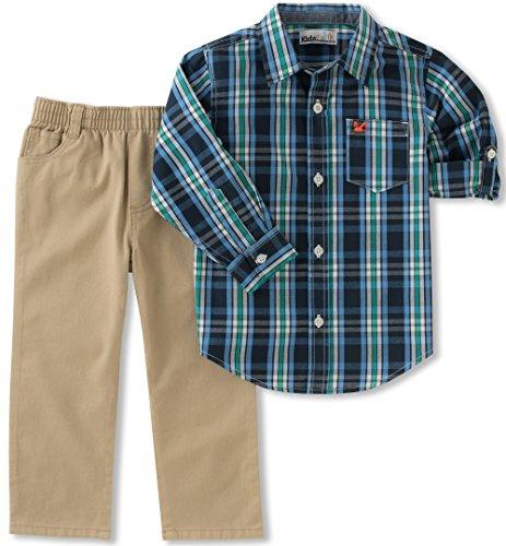 Shirt Khaki Pants (Kids Headquarters Baby Boys' Woven Shirt Pant Sets, Navy/Khaki, 18M)