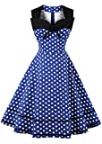 Nihsatin Women's Sleeveless Polka Dot 1950s Vintage Style Cocktail Party Dress