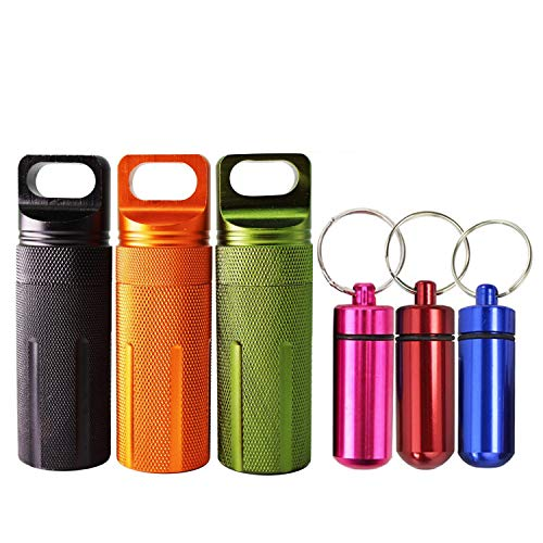 - 6pcs Waterproof Aluminum Pill Box Case Bottle Cache Drug Holder Keychain Container - Colorful Outdoor Camping Travel Traveling Portable Pill Capsule/Match Case (3Mini Size+3Large Size, Random Colors)