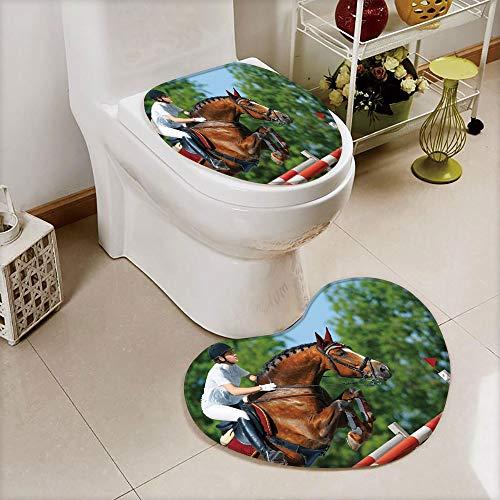 Cover Set Non-Slip mat Bathroom Non-Slip mat,Bay Horse Competition Hurdle Obstacle Training,3D Print Heart Shape Toilet seat Cushion Customized Fashion ()