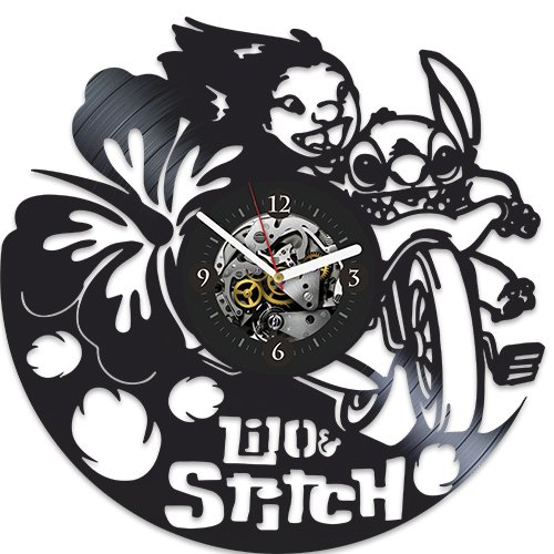 (Lilo & Stitch, Vinyl Wall Clock, Vintage Vinyl Record, Birthday Gift, Xmas Gift For Kids, Disney Clock, Disney Gift, Gift For Fans Lilo & Stitch, Lilo & Stitch Xmas Gift,)