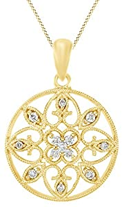 Round Cut White Natural Diamond filigree Pendant Necklace In 14k Yellow Gold