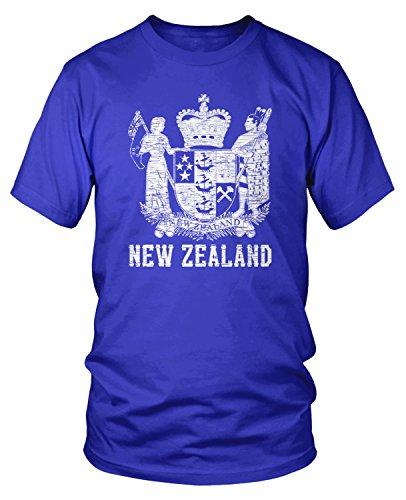 Amdesco Men's Coat of Arms of New Zealand, Kiwi Pride T-Shirt, Royal Blue ()