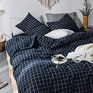 ZYEN Duvet Cover Set 100% Washed Cotton Duvet Cover Ultra Soft 3-Piece Quilt Cover Bedding Sets with Zipper Ties (WHB Navy Pliad-King)