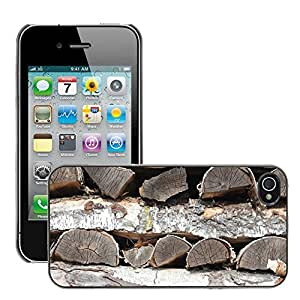 Print Motif Coque de protection Case Cover // M00155870 Maderas Madera Holzstapel Leña // Apple iPhone 4 4S 4G