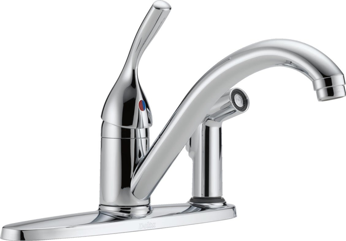 delta 300 dst classic single handle kitchen faucet with integral