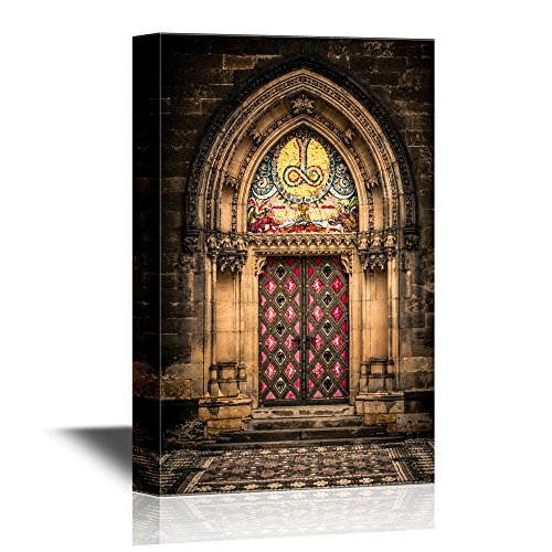 - wall26 - Doors Canvas Wall Art - Entrance Door of St. Peter and Paul Church in Prague - Gallery Wrap Modern Home Decor | Ready to Hang - 16x24 inches