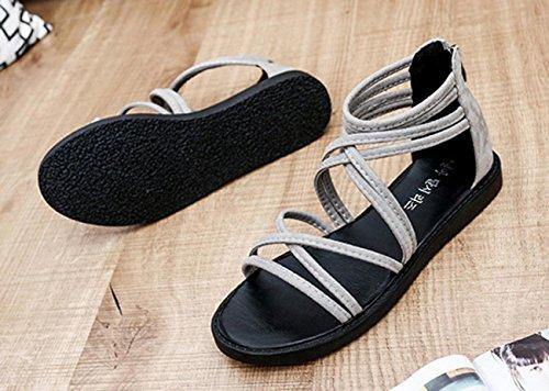 Sandalias de mujer, Internet Sandalias planas del ocio de Bohemia del vendaje de las mujeres Gris