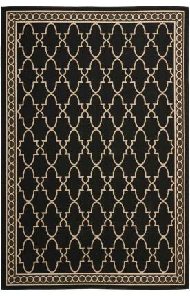 Safavieh Transitional Rug - Courtyard 6000 Polypropylene -Black/Beige Black/Beige/Transitional/7'7