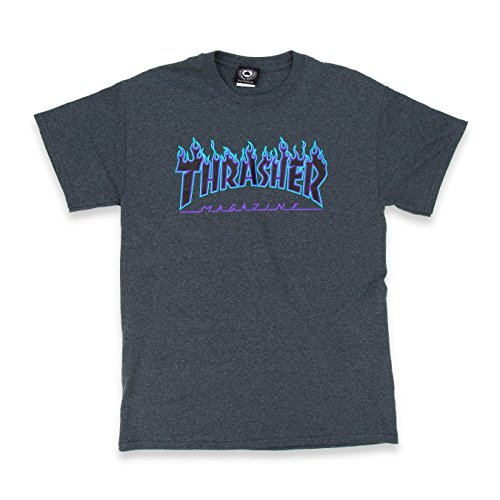 Thrasher Flame T-Shirt (Small, Dark Heather) by Thrasher (Image #1)