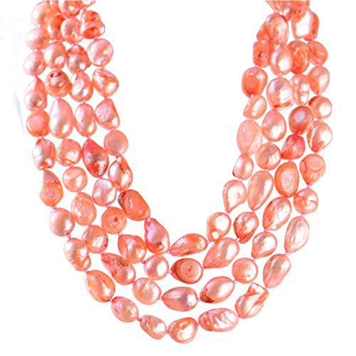 Baroque Peach - 9-10mm Baroque Cultured Freshwater Pearl Necklace Strand Endless Palette Pure PEACH PINK 60