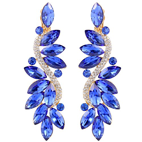 BriLove Wedding Bridal Clip On Earrings for Women Crystal Multi Marquise Filigree Flower Chandelier Dangle Earrings Royal Blue Sapphire Color Gold-Toned