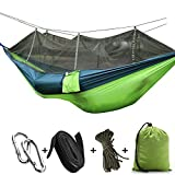 CapsA Camping Hammock Portable Indoor Outdoor Tree Hammock Hanging Straps Lightweight Easy Assembly Portable Parachute Nylon Hammock for Backpacking Travel Beach Backyard Hiking (A)