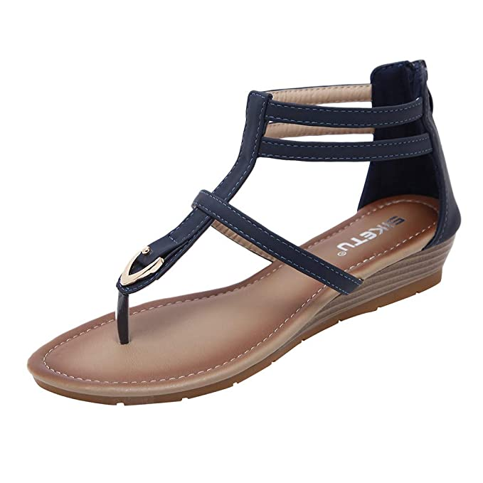 d36431a9f0d38 Cenglings Women s Casual Rome Solid Flip Flops Strappy Low Heel Sandals Zip Wedges  Shoes Flat Clip