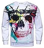 Pizoff Men Women Hip Hop 3D Digital Colorful Skull Printing Long Sleeve Sweatshirts Autumn Tops Y1813-08-S