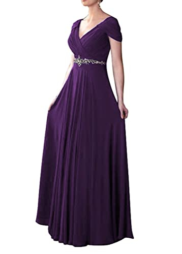 WeiYin Women's Cap Sleeve V-neck Ruched Empire Line Mother of the Bride Dresses