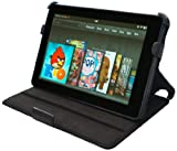 YooMee Black Amazon Kindle Fire 7 Inch Android Tablet Leather Case Cover Folio with Multi-Angle Stand and Hand Strap (Black)(NOT Compatible with Fire HD)