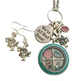 Harper Olivia Alice in Wonderland Jewelry Necklace and Earring Set Were All Mad Here Floating Locket Stainless Steel