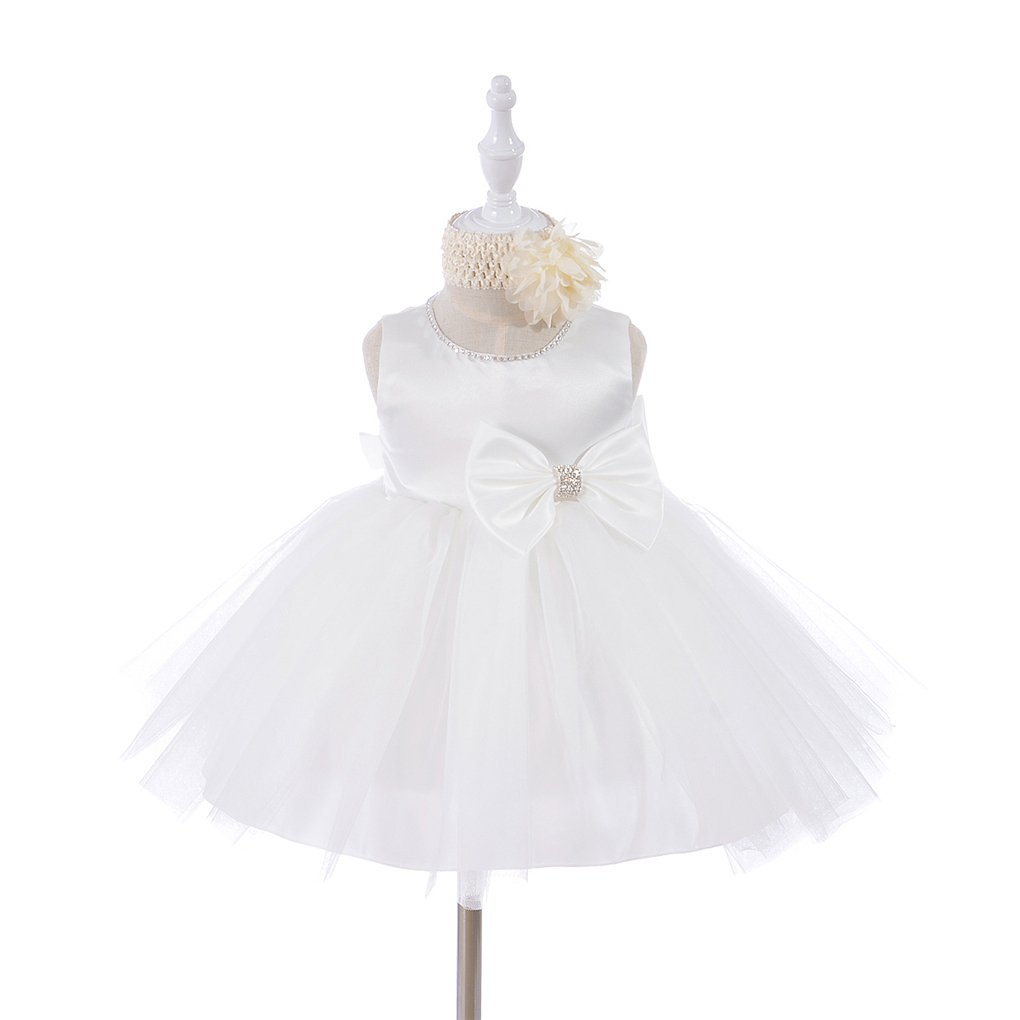 Xopzsiay Newborn Girls Christening Gown Shiny Collar Baptism Tulle Dress with Headband