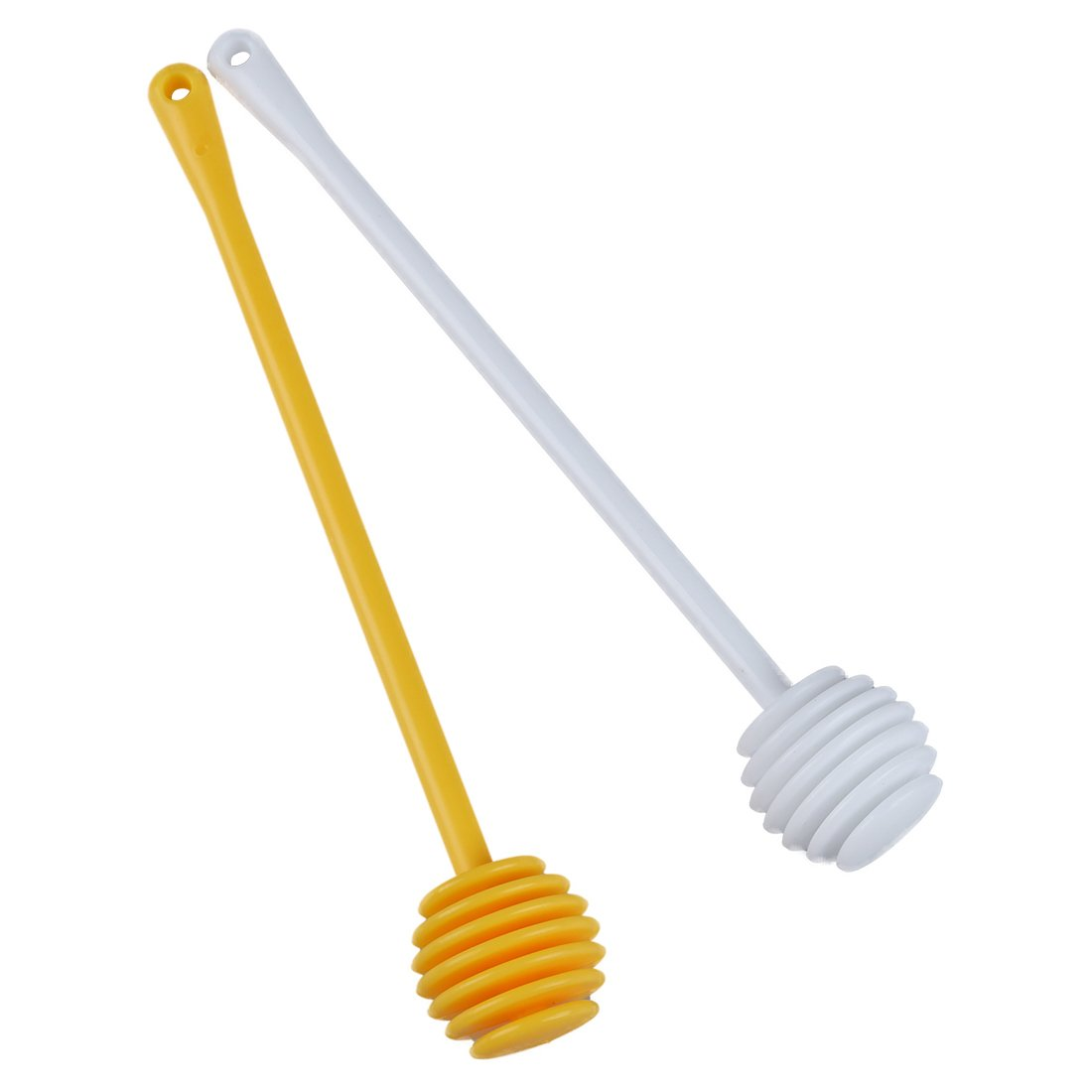 TOOGOO(R) 2Pcs Honey Dipper Jam Stir Sticks Long Handle Yellow + White SHOMAGT14074