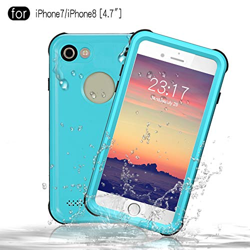 Redpepper iPhone 7/iPhone 8 Waterproof Case [4.7 inch], IP68 Certified Full Sealed Underwater Protective Cover, Shockproof, Snowproof and Dirtproof for Outdoor Sports (Grass Blue)