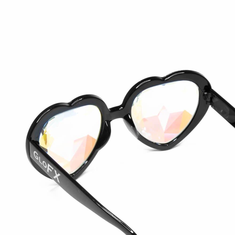 caa2a397074 Amazon.com  GloFX Black Heart Shaped Kaleidoscope Glasses - festival rave  edm concert effect plur firework glasses  Clothing